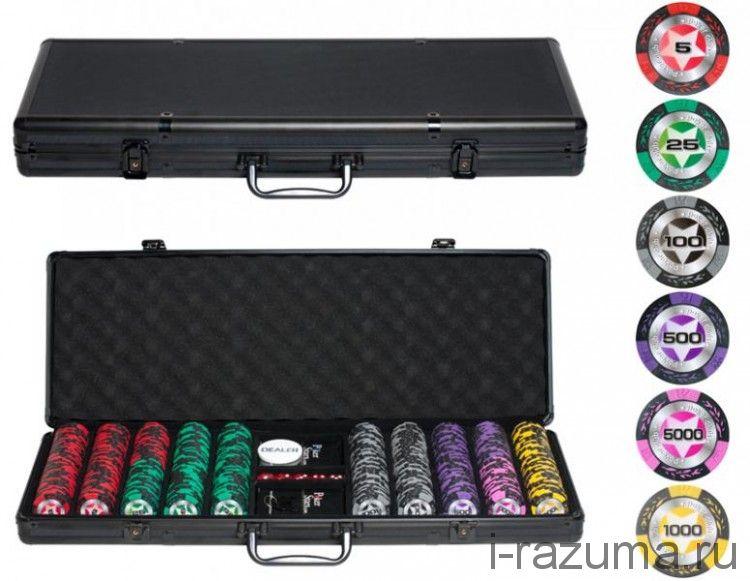 """Набор Покер """"Black Stars"""" в черном алюминиевом кейсе (500 фишек 14 г. c номиналом)"""